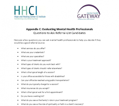 Questions to Ask Referral List Candidates - Mental Health